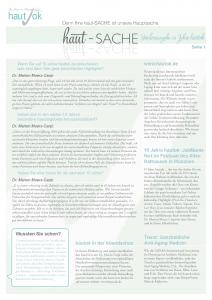 Newsletter haut-Sache Ausgabe 31 | hautok und hautok cosmetics